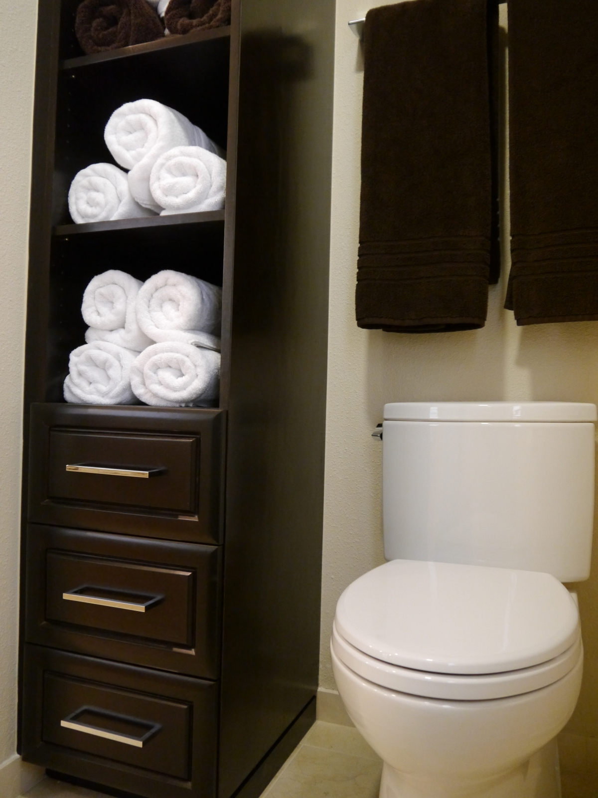 Custom Bathroom Vanities With Linen Tower vanities