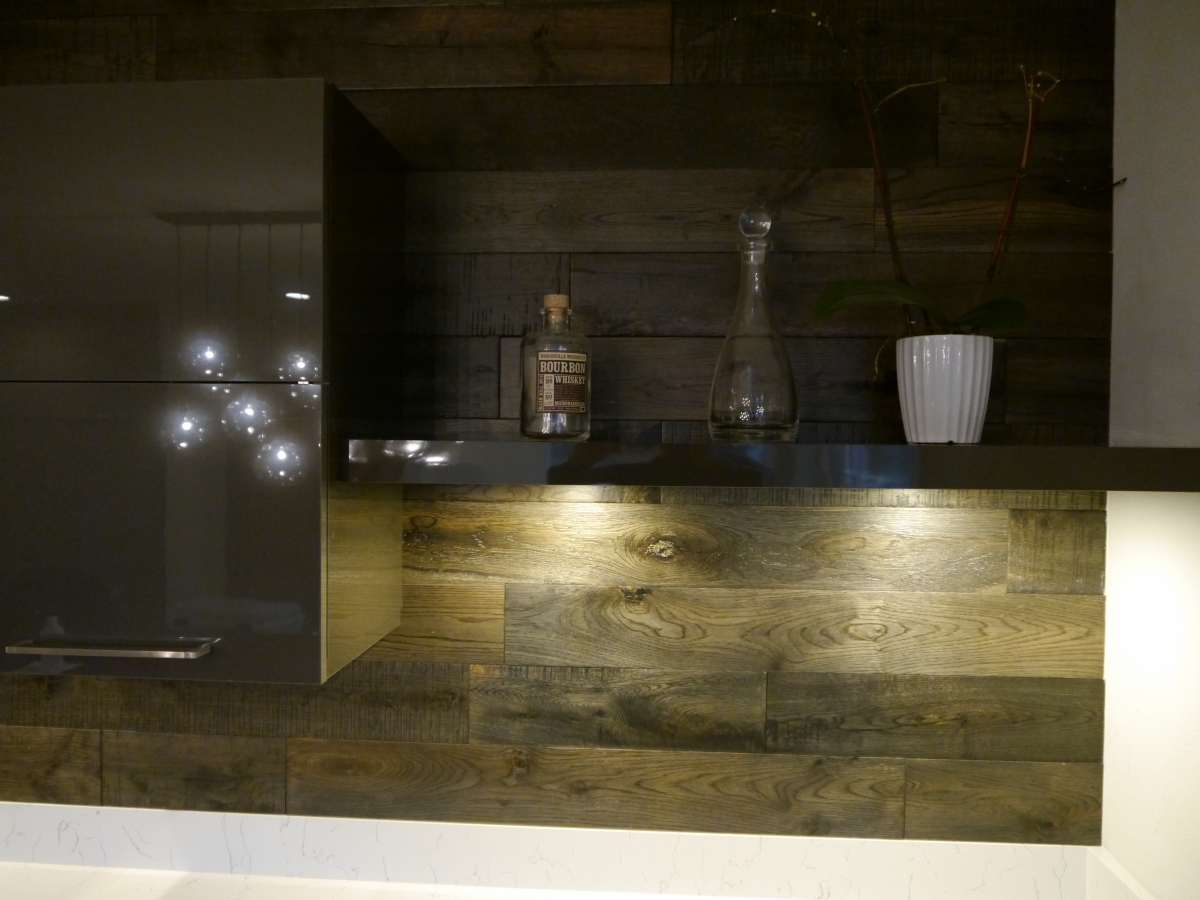 Kitchen cabinets kirkland - Kirkland Modern Kitchen Remodel Acrylic Cabinets With Floating Shelves And Led Lighting And Distressed Oak Hardwood Wall