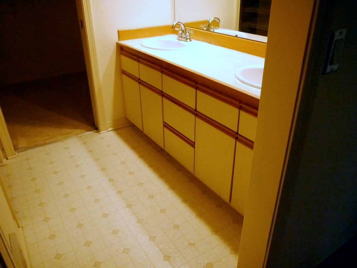 Bathroom remodel kirkland - Kirkland Ii Vanity Reface Before Laminate Cabinets Countertop With Wood Backsplash And Self Rim Sinks