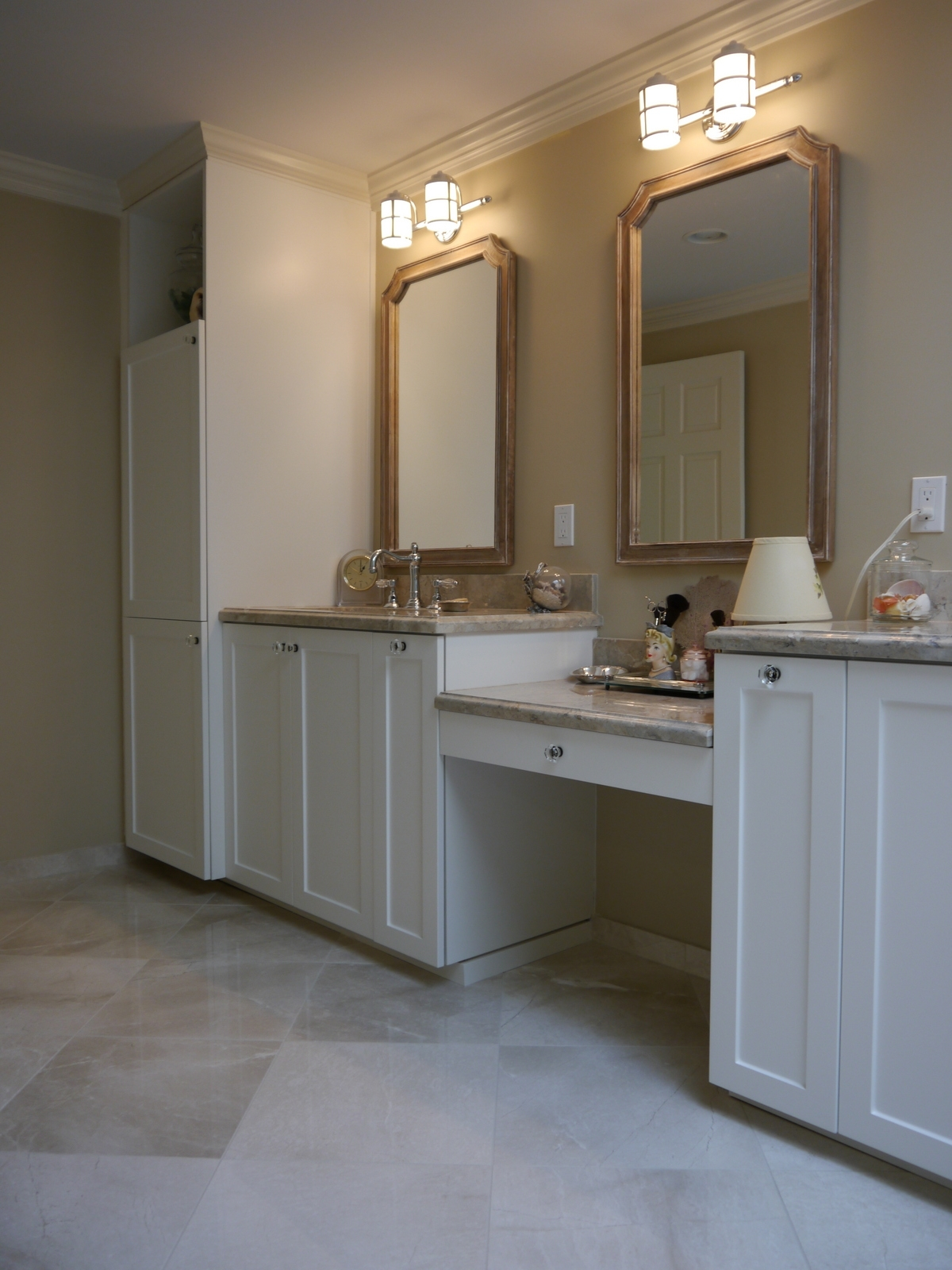 White Satin Foil Cabinet Marble Countertop, Built In Makeup Vanity,  Pull Out Vanity Organizers, And Pottery Barn Mirrors