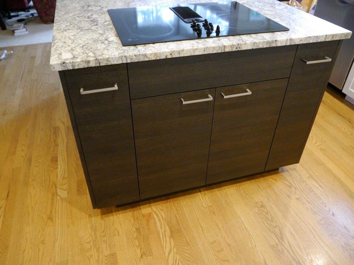 Satin Foil Shaker Style Cabinets, Slab Style Innovative Design Series  Island Cabinet, Honed Finish Granite Countertops, Subway Tile Backsplash  With ...