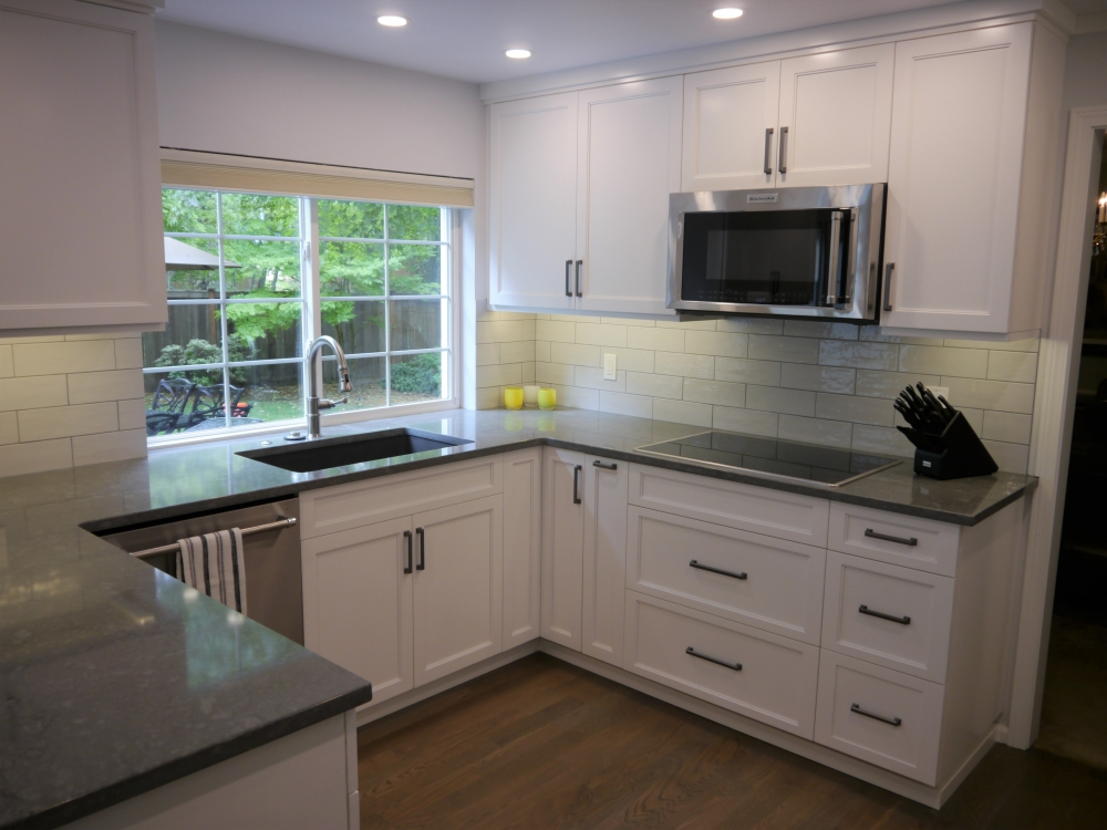 Painted Maple Cabinets In Sea Salt And In The Style Campbell, Pental  Countertops In Blue Savoie, And Thompson Tile Backsplash In Glossy Perla  4x12