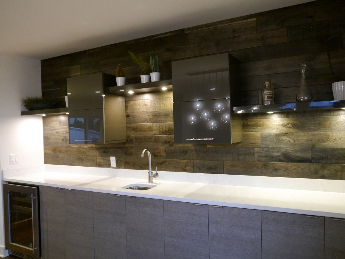 upper cabinet lighting. Acrylic Upper Cabinets With Floating Shelves And LED Lighting, Innovative Design Series Lower Built-in Wine Cooler, Quartz Countertop, Cabinet Lighting