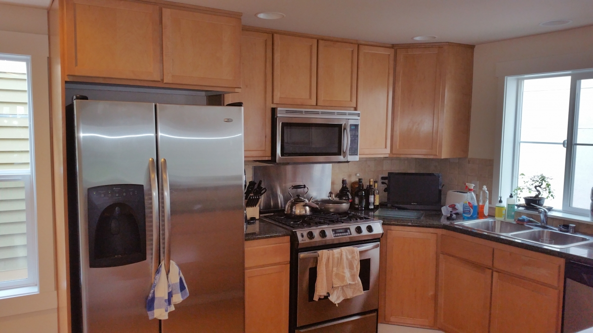 Seattle Condo Traditional Kitchen Reface. Before   Shaker Style Maple  Cabinets With Granite Countertops And Tile Backsplash