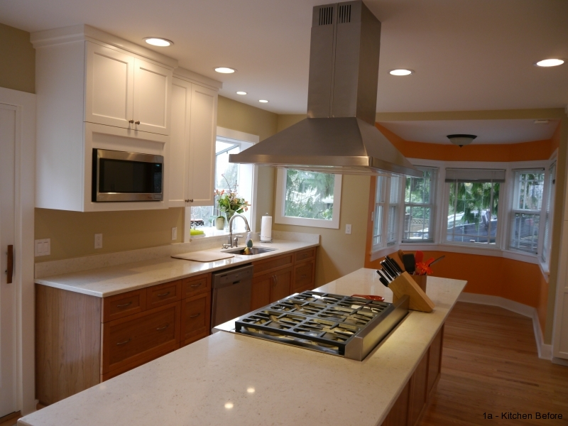 Natural Cherry Base Cabinets With Painted Upper Cabinets, Quartz Countertops